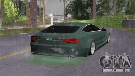 Audi A7 Sportback para GTA Vice City vista traseira esquerda