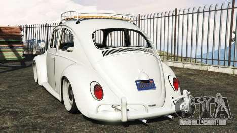 GTA 5 Volkswagen Fusca 1968 v1.0 [add-on] traseira vista lateral esquerda