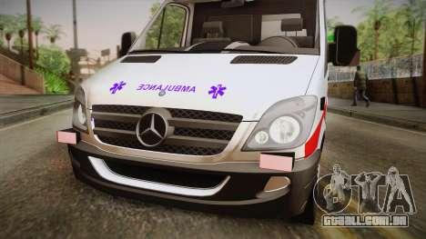Mercedes-Benz Sprinter 2012 SA EMS Alliance para GTA San Andreas traseira esquerda vista
