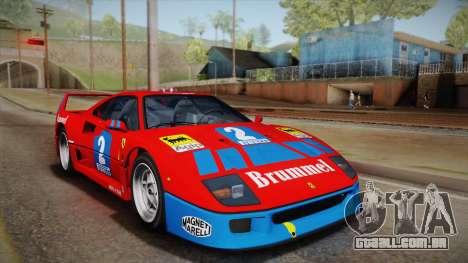 Ferrari F40 (US-Spec) 1989 HQLM para GTA San Andreas vista interior