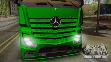 Mercedes-Benz Actros Mp4 4x2 v2.0 Gigaspace para GTA San Andreas traseira esquerda vista