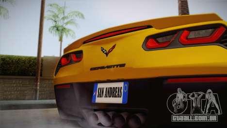 Chevrolet Corvette Stingray 2015 para GTA San Andreas vista direita