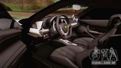 Ferrari 458 Italia para GTA San Andreas vista interior