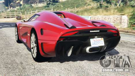 GTA 5 Koenigsegg Regera 2016 v1.1a [add-on] traseira vista lateral esquerda