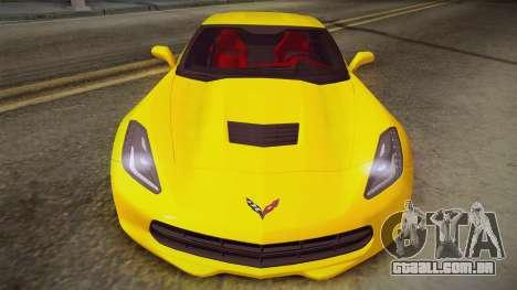 Chevrolet Corvette Stingray 2015 para GTA San Andreas traseira esquerda vista