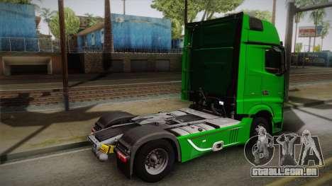 Mercedes-Benz Actros Mp4 4x2 v2.0 Gigaspace para GTA San Andreas esquerda vista
