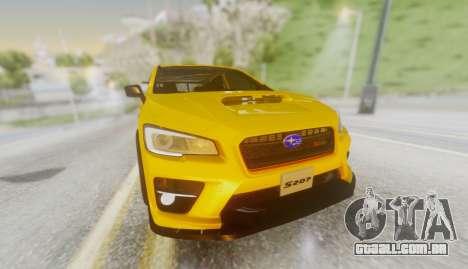 Subaru WRX STI S207 NBR CHALLENGE YELLOW EDITION para GTA San Andreas vista traseira