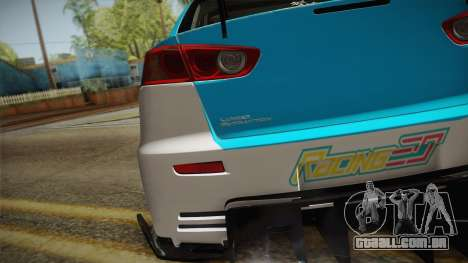 Mitsubishi Lancer Evolution X 2008 Racing Miku para GTA San Andreas vista direita