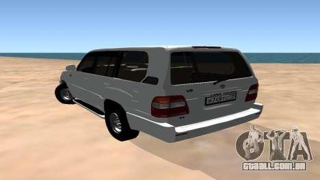 Toyota Land Cruiser 100 para GTA San Andreas vista direita