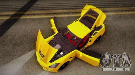 Chevrolet Corvette Stingray 2015 para GTA San Andreas vista inferior
