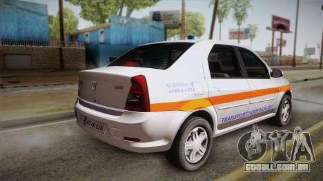Dacia Logan Facelift Ambulanta v3 para GTA San Andreas esquerda vista