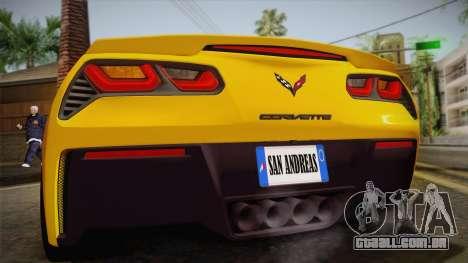 Chevrolet Corvette Stingray 2015 para GTA San Andreas vista interior