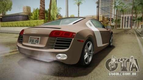 Audi R8 Coupe 4.2 FSI quattro US-Spec v1.0.0 v4 para GTA San Andreas vista direita