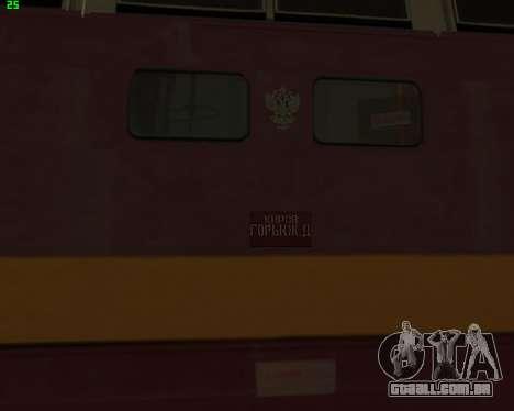 Locomotiva de passageiros CHS4t-521 para GTA San Andreas vista traseira
