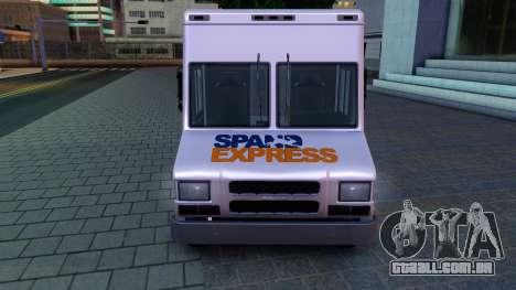 GTA IV Brute Boxville with SpandEx livery para GTA San Andreas esquerda vista