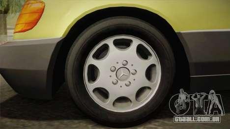 Mercedes-Benz 500SE 1991 v1.1 para GTA San Andreas traseira esquerda vista