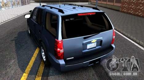 Chevy Tahoe Metro Police Unmarked 2012 para GTA San Andreas traseira esquerda vista