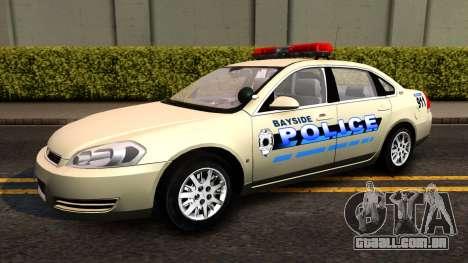 2007 Chevy Impala Bayside Police para GTA San Andreas traseira esquerda vista