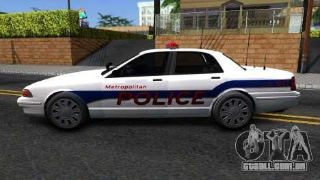 Vapid Stanier Metropolitan Police 2009 para GTA San Andreas esquerda vista