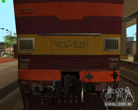 Locomotiva de passageiros CHS4t-521 para GTA San Andreas vista interior
