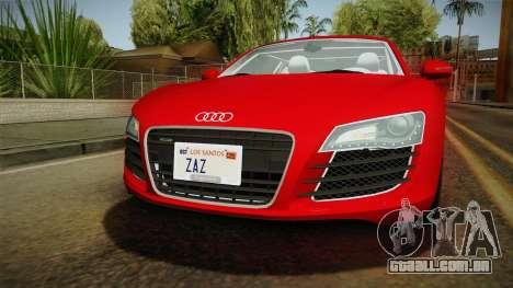 Audi R8 Coupe 4.2 FSI quattro EU-Spec 2008 YCH2 para GTA San Andreas vista superior