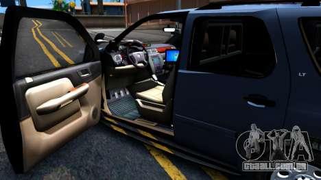 Chevy Tahoe Metro Police Unmarked 2012 para GTA San Andreas vista traseira