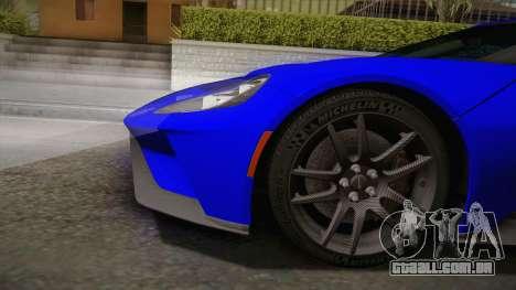 Ford GT 2017 para GTA San Andreas traseira esquerda vista