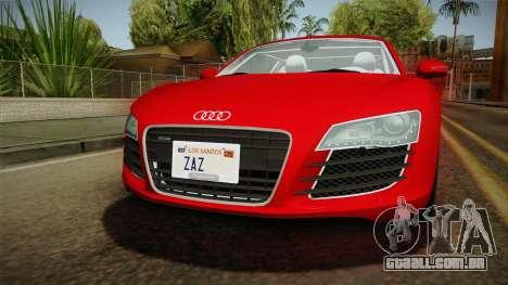 Audi R8 Coupe 4.2 FSI quattro EU-Spec 2008 YCH2 para vista lateral GTA San Andreas