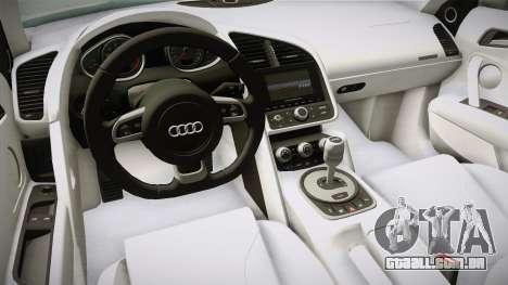 Audi R8 Coupe 4.2 FSI quattro US-Spec v1.0.0 v4 para GTA San Andreas vista interior