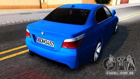 BMW E60 520D M Technique para GTA San Andreas traseira esquerda vista