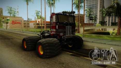 Peterbilt Monster Truck para GTA San Andreas traseira esquerda vista