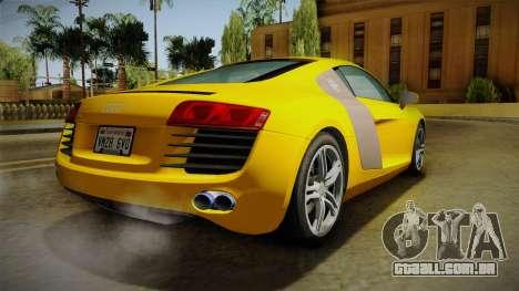 Audi R8 Coupe 4.2 FSI quattro EU-Spec 2008 Dirt para GTA San Andreas esquerda vista
