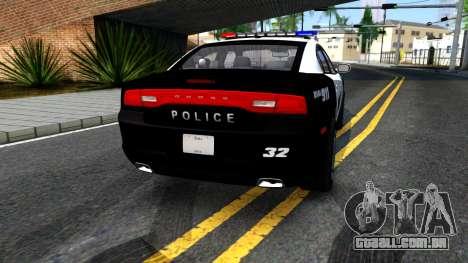 Dodge Charger Rittman Ohio Police 2013 para GTA San Andreas traseira esquerda vista
