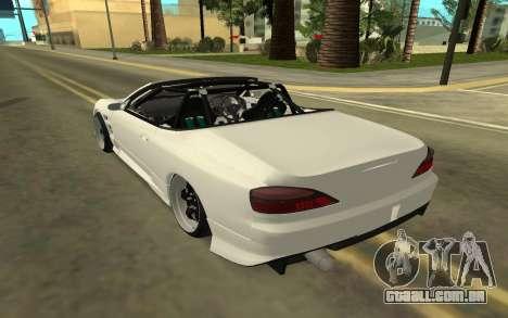 Nissan Silvia s15 Kabrio para GTA San Andreas traseira esquerda vista