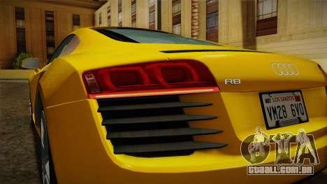 Audi R8 Coupe 4.2 FSI quattro EU-Spec 2008 Dirt para GTA San Andreas interior