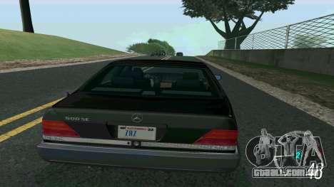 Mercedes-Benz 500SE para GTA San Andreas esquerda vista