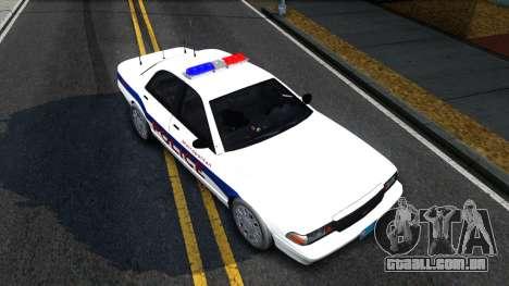 Vapid Stanier Metropolitan Police 2009 para GTA San Andreas vista traseira