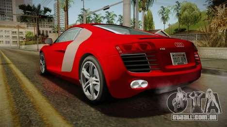 Audi R8 Coupe 4.2 FSI quattro EU-Spec 2008 YCH2 para GTA San Andreas esquerda vista