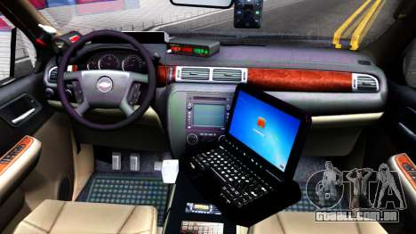 Chevy Tahoe Metro Police Unmarked 2012 para GTA San Andreas vista interior