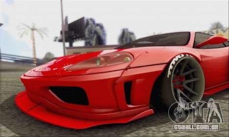 Ferrari 360 LB Work para GTA San Andreas traseira esquerda vista