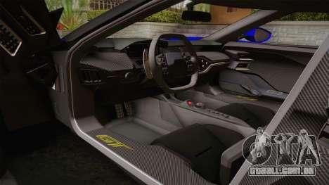 Ford GT 2017 para GTA San Andreas vista interior