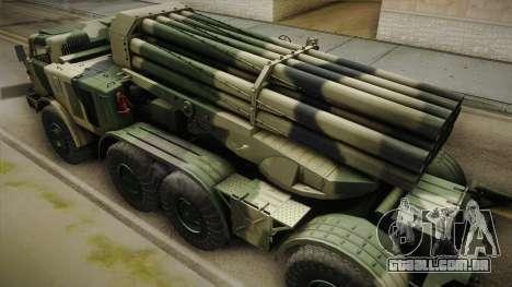 BM-27 Uragan (9P140) para GTA San Andreas vista interior