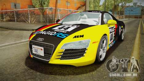 Audi R8 Coupe 4.2 FSI quattro US-Spec v1.0.0 v4 para GTA San Andreas vista inferior