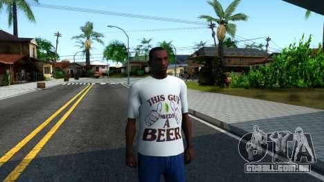 White Beer T-Shirt para GTA San Andreas segunda tela