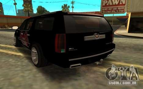 Cadillac Escalade para GTA San Andreas esquerda vista