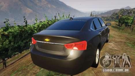 GTA 5 Chevrolet Impala 2015 traseira vista lateral esquerda
