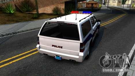 Declasse Granger Metropolitan Police 2012 para GTA San Andreas traseira esquerda vista