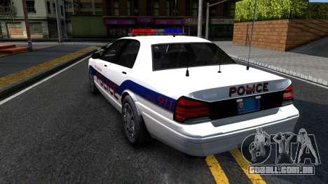 Vapid Stanier Metropolitan Police 2009 para GTA San Andreas traseira esquerda vista