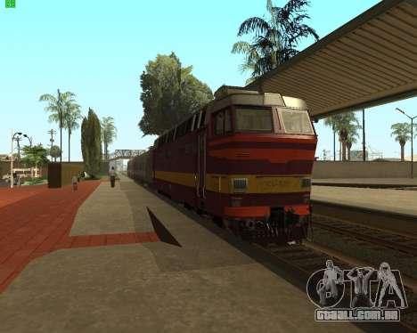 Locomotiva de passageiros CHS4t-521 para GTA San Andreas traseira esquerda vista