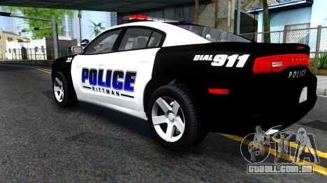 Dodge Charger Rittman Ohio Police 2013 para GTA San Andreas vista traseira